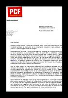 Lettre de Pierre Laurent à Christian Paul, représentant de la motion B du PS
