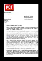Lettre de Pierre Laurent à David Cormand, Secrétaire national d'EELV