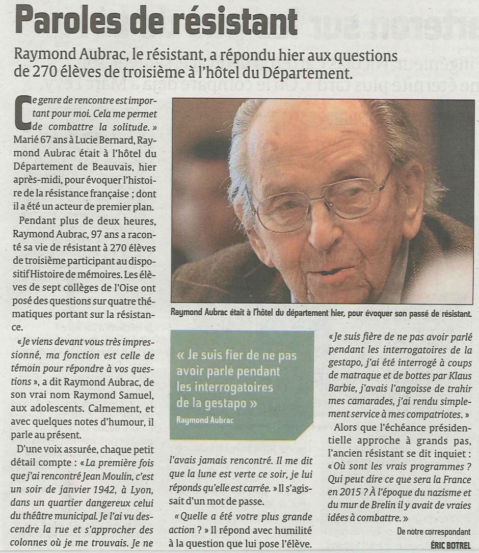 20120125-CP-Beauvais-Raymond Aubrac, paroles de résistant