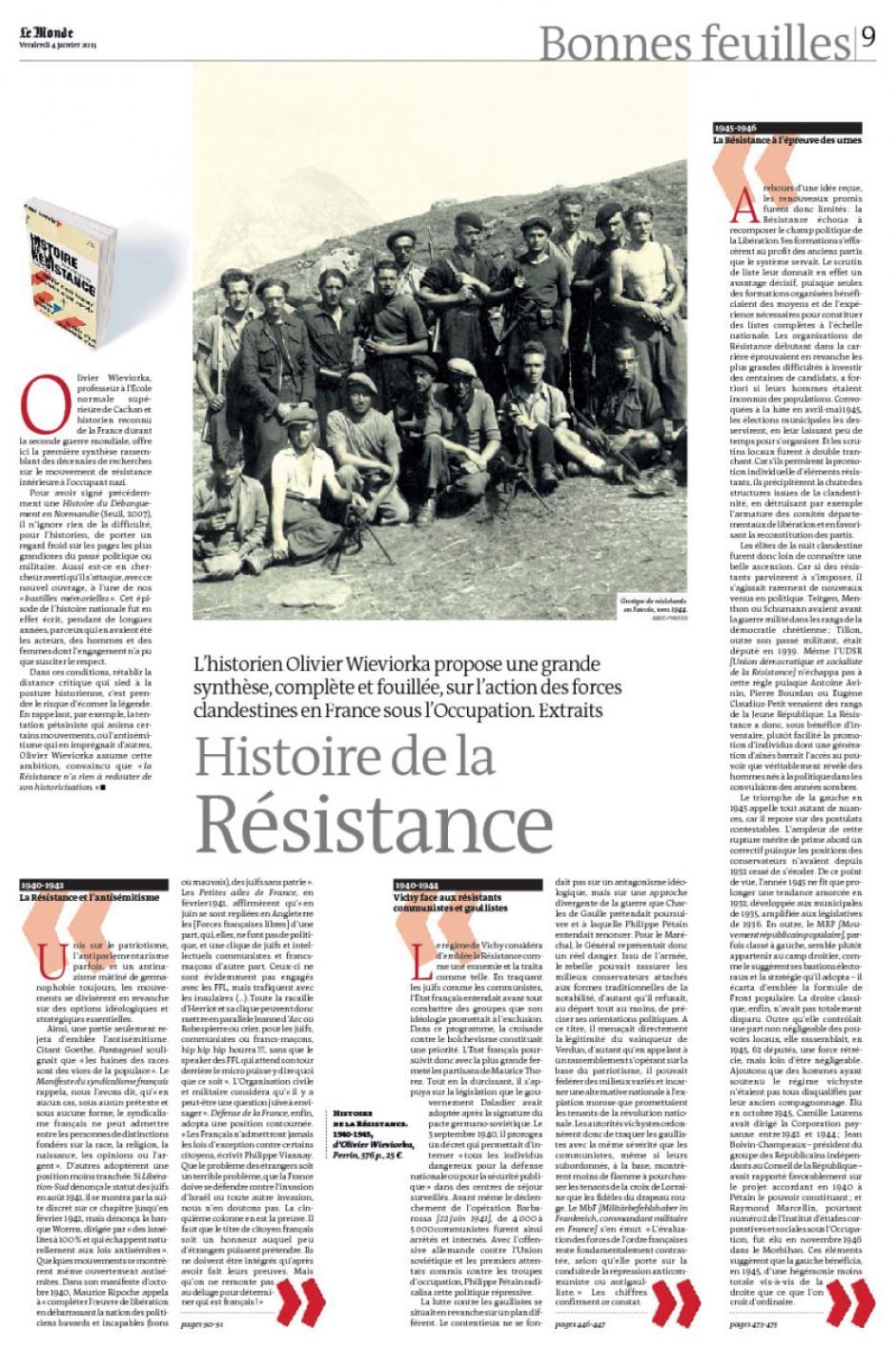 20130104-Le Monde-Histoire de la Résistance, par Olivier Wievorka