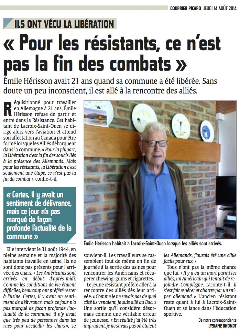 20140814-CP-Lacroix-Saint-Ouen-Émile Hérisson « Pour les résistants, ce n'est pas la fin des combats »