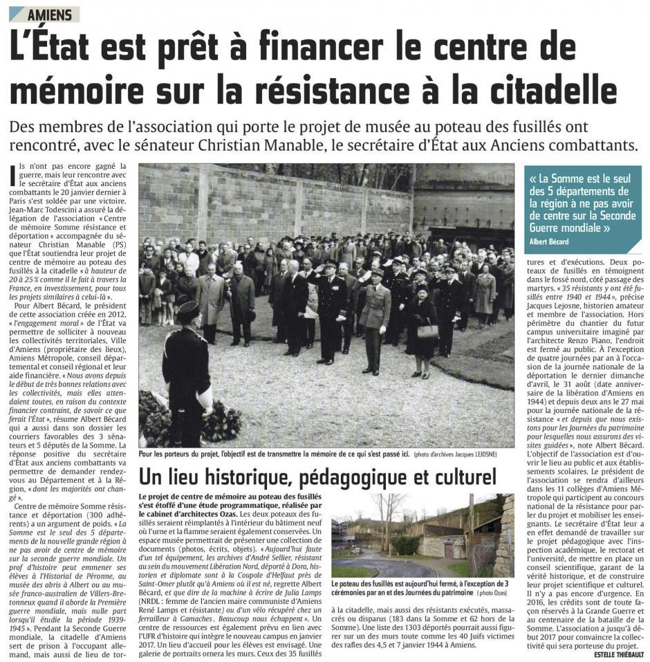 20160216-CP-Amiens-L'État est prêt à financer le centre de mémoire sur la Résistance à la citadelle