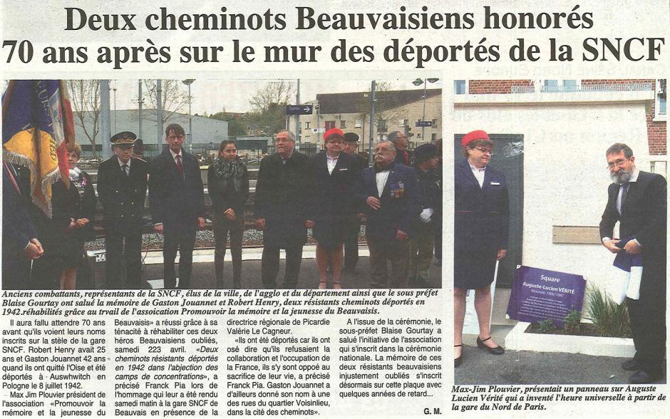 20160504-OH-Beauvais-Deux cheminots beauvaisiens honorés 70 ans après sur le mur des déportés de la SNCF