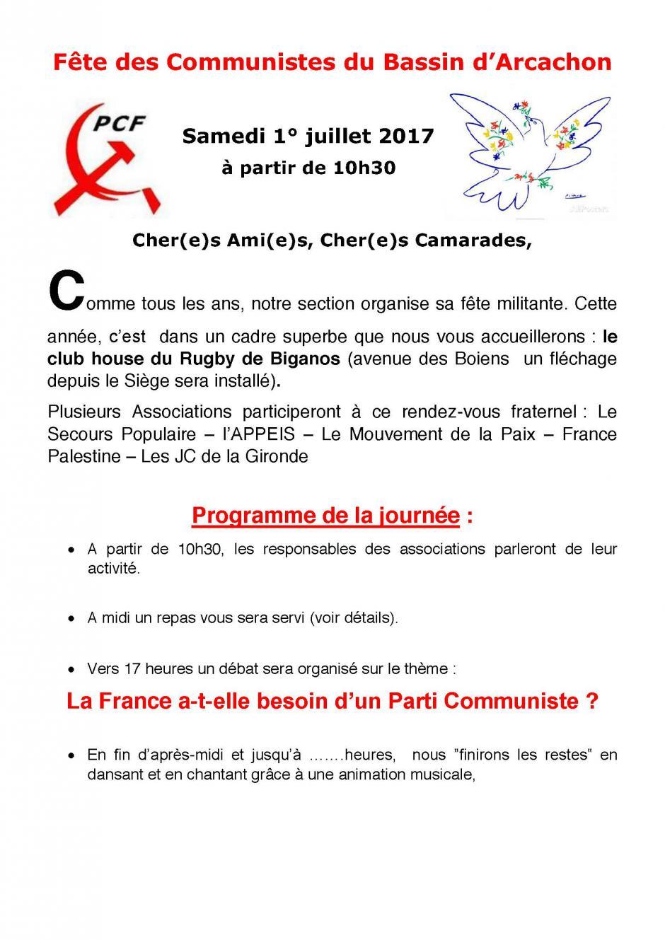 1er juillet // Fête des communistes du Bassin d'Arcachon