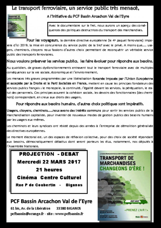 22 mars // Projection-débat sur le frêt ferroviare