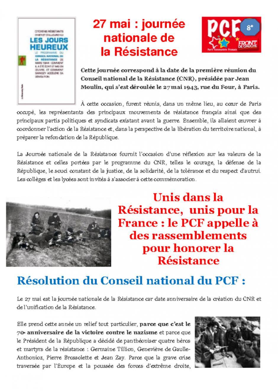 8e arr. de Marseille. Commémoration de la journée nationale de La Résitance