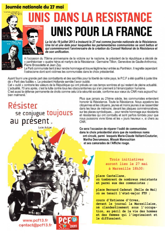 Journée nationale du 27 mai. Unis dans la résistance, unis pour la France