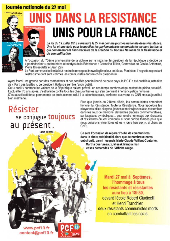 Septèmes-les-Vallons. Journée nationale de La Résistance
