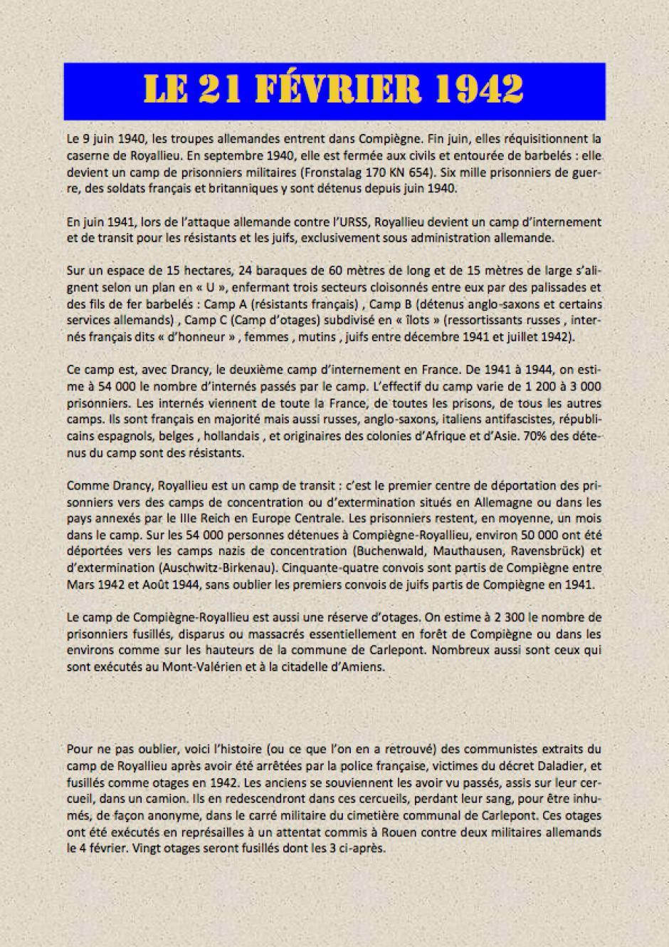 Les otages communistes de Royallieu fusillés à Moulin-sous-Touvent en 1942 - B-Le 21 février 1942 (document transmis par Jean-Michel Vicaire)