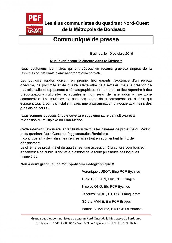 Communiqué // Extension du complexe cinéma du Pian Médoc