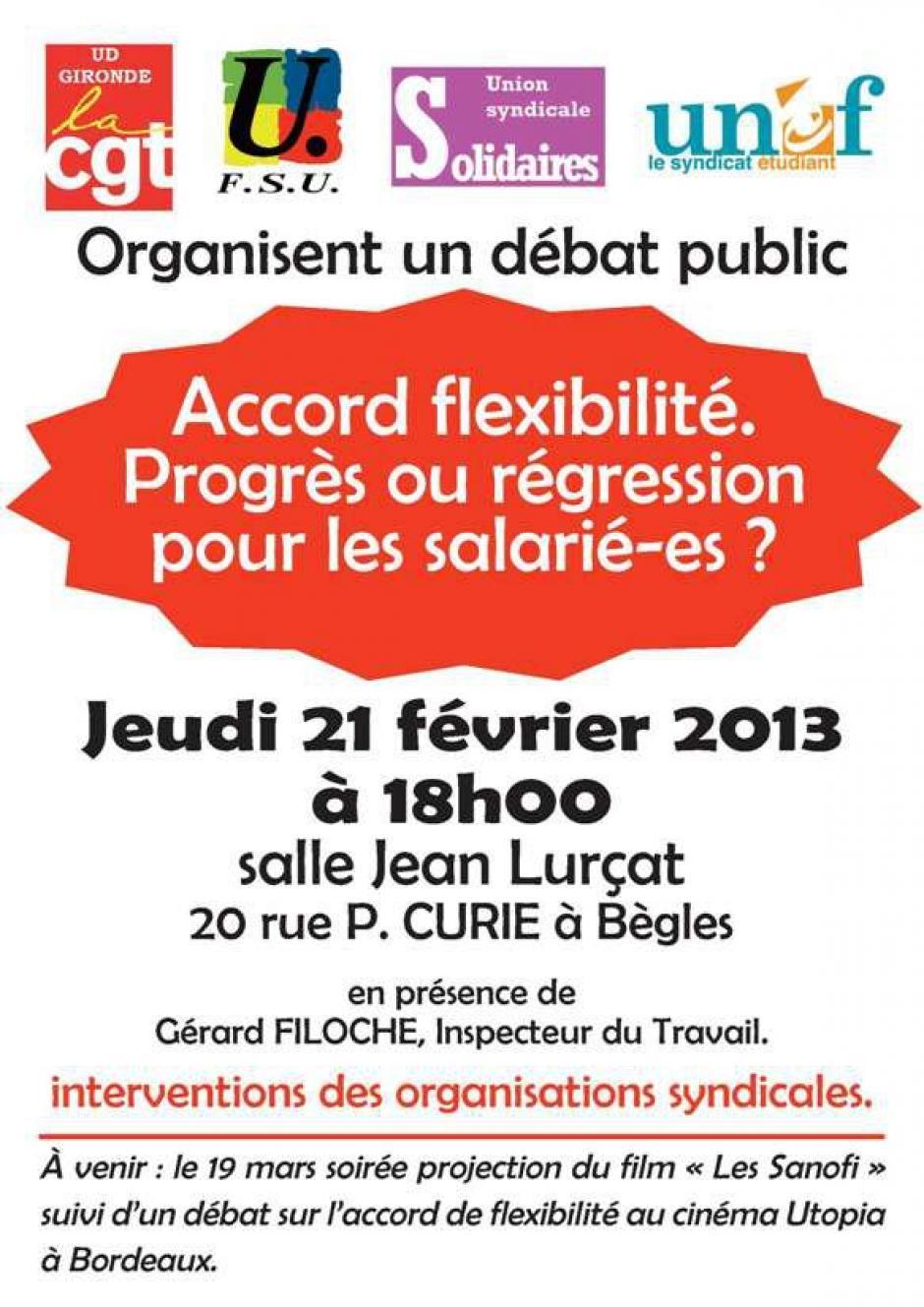 Jeudi 21 février: Débat public: Accord fexibilité, progrès ou régression pour les salariés?