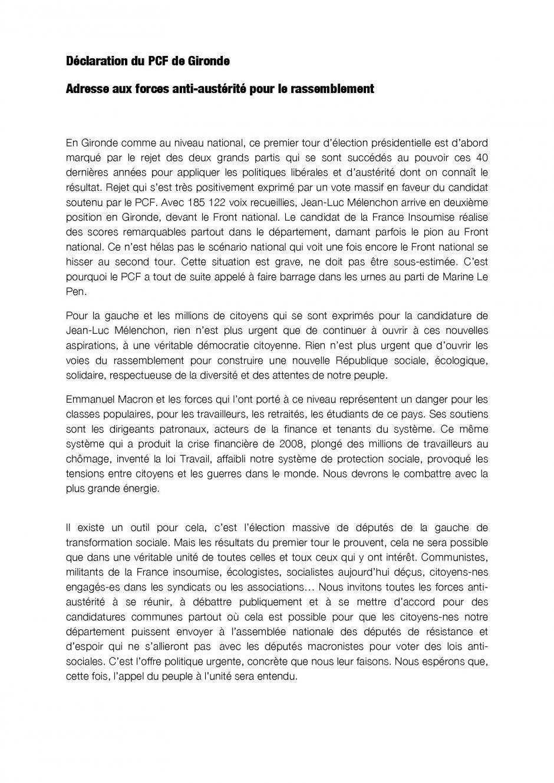 Déclaration du PCF de Gironde //  Adresse aux forces anti-austérité pour le rassemblement