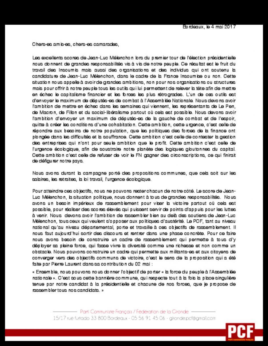 Lettre de la fédération de Gironde du PCF à la France Insoumise