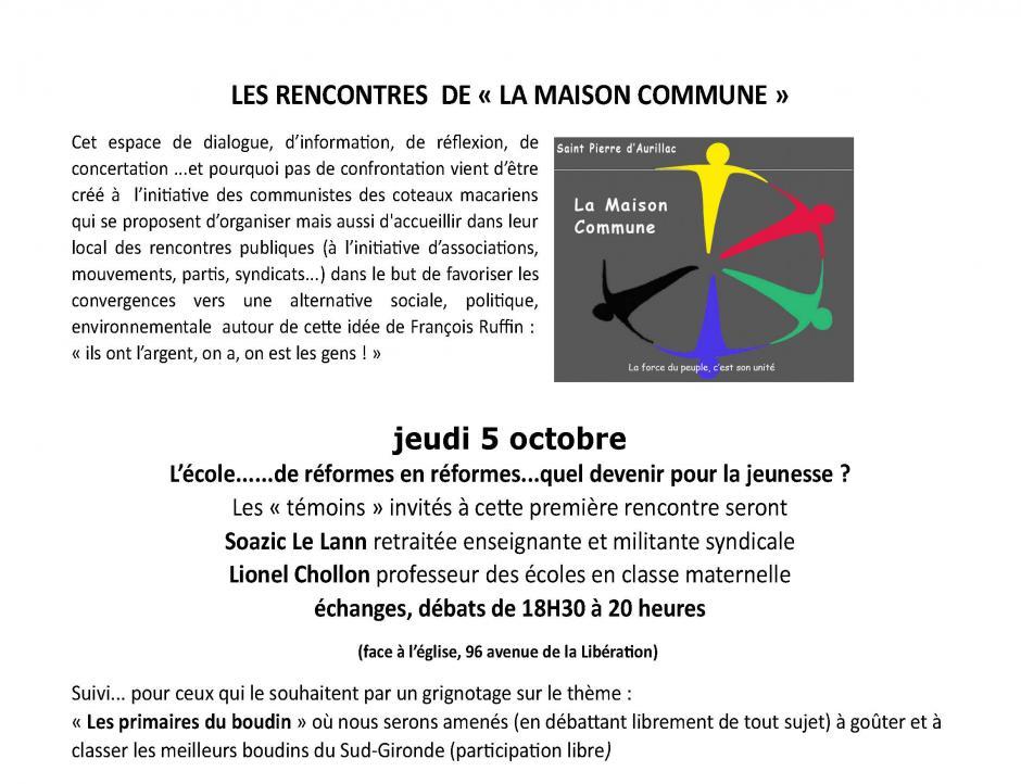 5 octobre // Rencontre - débat sur l'école à St Pierre d'Aurillac