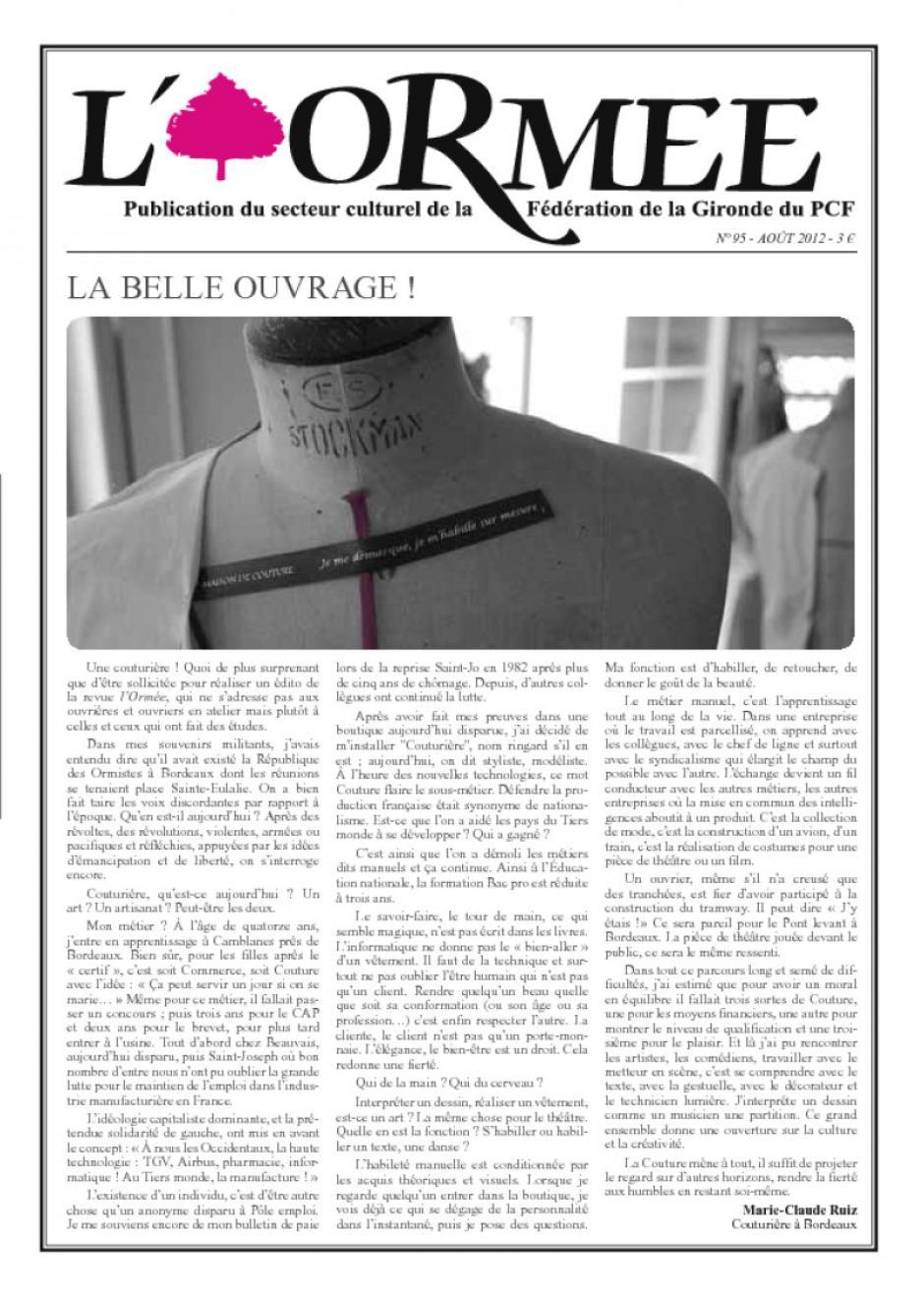 L'ormée, revue culturelle du PCF Gironde : n°93 février 2012