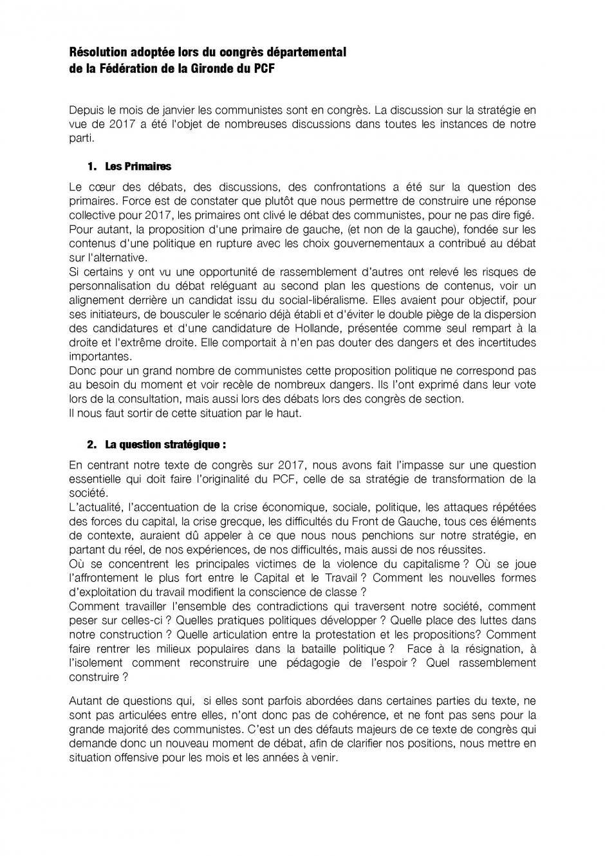 Résolution adoptée lors du congrès départemental des 28 & 29 mai 2016