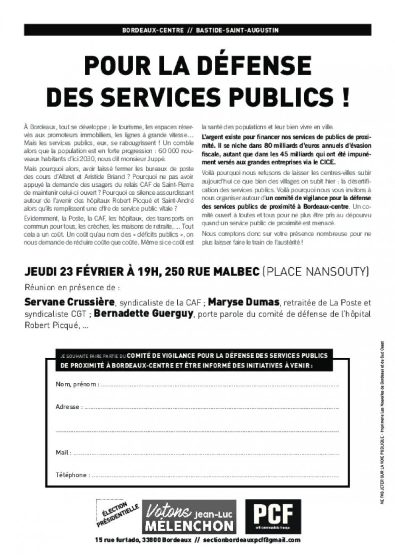 23 février // Réunion comité de vigilance pour les services publics de proximité à Bordeaux-centre